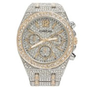 BEBE Womens Crystal Two-Tone Chronograph Watch
