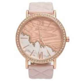 BEBE Womens Crystal Bezel Marble Dial Watch