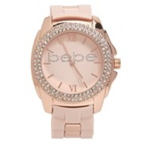 BEBE Womens Crystal Rose Gold Silicone Watch