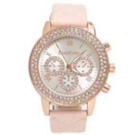 BEBE Womens Crystal Rose Gold Chronograph Quilted