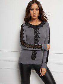 Lace-Trim Crewneck Sweater - 7th Avenue - New York