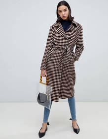 Selected Femme Check Wool Wrap Coat