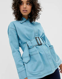ASOS DESIGN belted utility jacket with contrast st