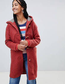 Esprit Hooded Toggle Coat With Check Lining
