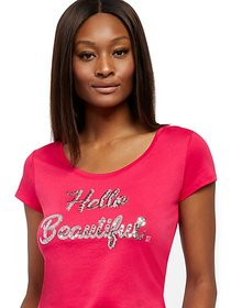 "Sequin ""Hello Beautiful"" Graphic Logo Tee - New Yo"