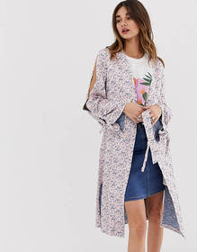 Lost Ink Kimono Jacket With Split Sleeves In Jacqu