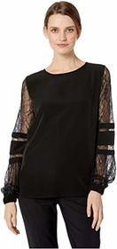 Calvin Klein Solid Long Sleeve with Lace Sleeve