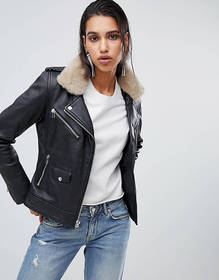 Goosecraft leather biker jacket with faux fur coll