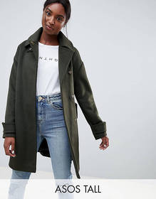 ASOS DESIGN Tall coat in twill with buckle neck