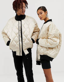 COLLUSION Unisex quilted satin bomber in gold