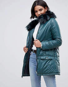 Urbancode parka coat with onion quilting and faux