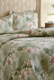 Tommy Bahama Tropical Orchid King Quilt Set - Gree