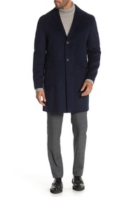 DKNY Navy Solid Button Coat
