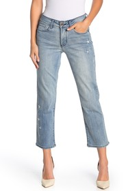 NYDJ Marilyn Straight Ankle Star Embroidered Jeans