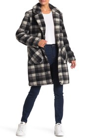 French Connection Notch Collar Plaid Print Faux Fu