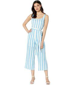 J.O.A. Woven Striped Jumpsuit with Waist Self Tie