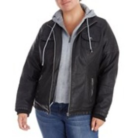 Plus Size Mixed Media Faux Leather Jacket with Hoo