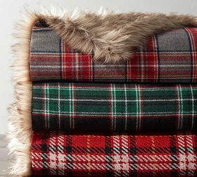 Pottery Barn Nottingham Plaid with Faux Fur Back T