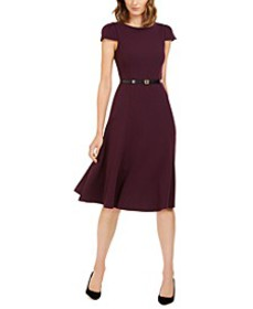 Belted Cap-Sleeve Fit & Flare Dress