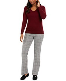 V-Neck Cashmere Sweater & Houndstooth Trousers, Cr