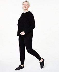 Plus Size Cashmere Hoodie & Jogger Pants, Created