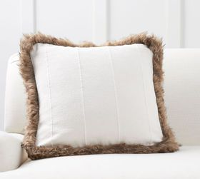 Pottery Barn Mudcloth with Faux Fur Trim Pillow Co