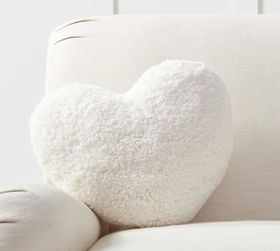 Pottery Barn Heart Shaped Sherpa Filled Pillow