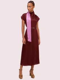 silk wrap neck dress
