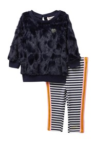 Juicy Couture Faux Fur Pullover & Stripe Legging S