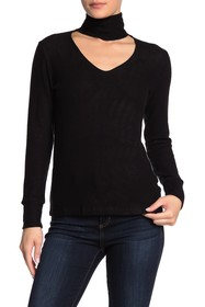 LNA Turtleneck Cutout Detail Long Sleeve Shirt