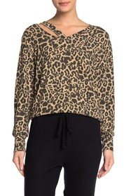 LNA Leopard V-Neck Cutout Long Sleeve Sweater