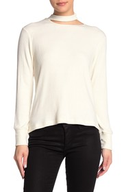 LNA Mock Neck Cutout Long Sleeve Shirt