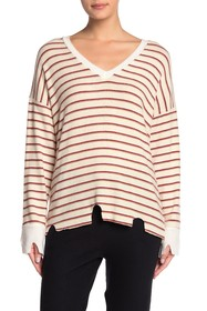 LNA Stripe Distressed V-Neck Sweater