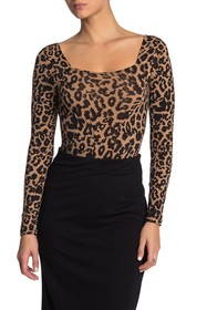 LNA Long Sleeve Leopard Bodysuit