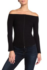 LNA Off-the-Shoulder Zip Front Long Sleeve Shirt