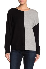 LNA Colorblock Long Sleeve Crew Neck Sweater