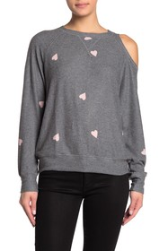 LNA Crew Neck Cold Shoulder Heart Sweatshirt