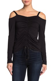 LNA Ruche Drawstring Cold Shoulder Shirt