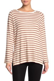 LNA Raglan Sleeve Stripe Crew Neck Sweater