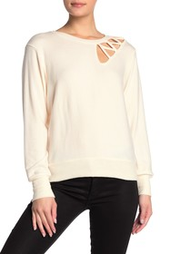 LNA Front Cutout Crew Neck Long Sleeve Sweater