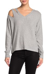 LNA V-Neck Distressed Shoulder Knit Sweater