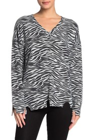 LNA Distressed Raw Hem V-Neck Zebra Sweater