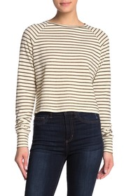 LNA Long Sleeve Crew Neck Stripe Sweater