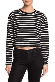 LNA Colorblock Stripe Crew Neck Long Sleeve Shirt