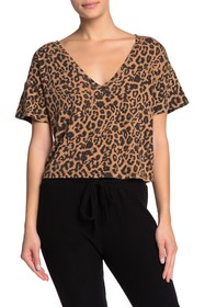 LNA Short Sleeve Leopard V-Neck Shirt