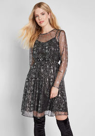 ModCloth ModCloth Dazzle Do It Long Sleeve Dress B