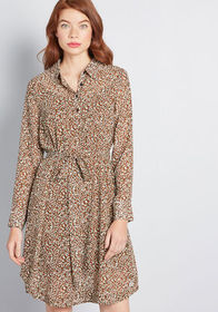 ModCloth ModCloth A Fine Design Shirt Dress Brown