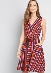 ModCloth ModCloth Retro Blend Midi Dress sunset