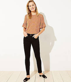 Pintucked Skinny Jeans in Washed Black Wash