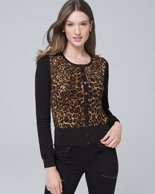 Reversible Leopard/Solid Snap-Front Cardigan